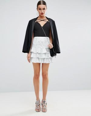 ASOS Мини-юбка с пайетками Rara. Цвет: белый