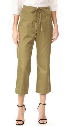 Укороченные брюки Parker со шнуровкой Marissa Webb. Цвет: оливковый