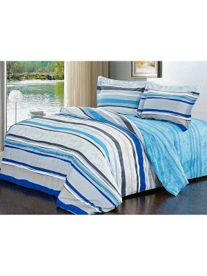 Комплект постельного белья Soft Line. Цвет: светло-серый, темно-бежевый, синий
