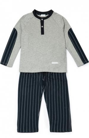 Хлопковая пижама в полоску Grigioperla. Цвет: серый