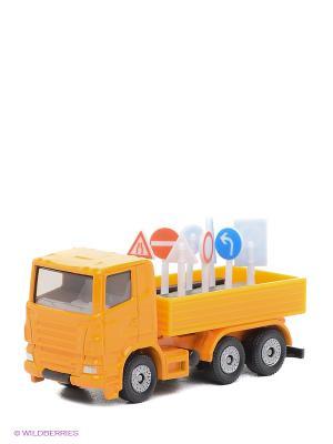 Грузовик с дорожными знаками SIKU. Цвет: оранжевый