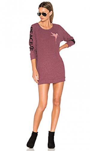 Вязанное мини платье с длинным рукавом bel Lauren Moshi. Цвет: розовый