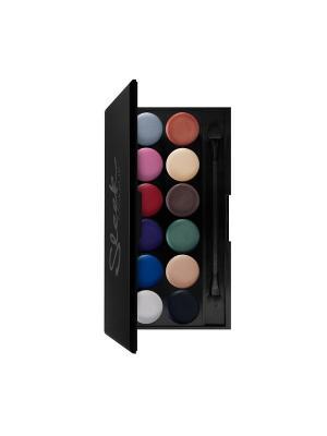 Тени для век в палетке Eyeshadow Palette I-Divine (12 тонов) Primer 600 Sleek MakeUp. Цвет: черный, синий, зеленый, бордовый, коричневый, светло-голубой, сиреневый, белый