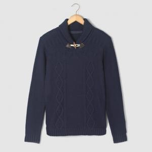Пуловер с шалевым воротником, для 10-16 лет R pop. Цвет: синий морской