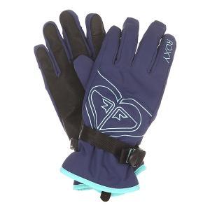 Перчатки сноубордические женские  Popi Gloves Blue Print Roxy. Цвет: синий
