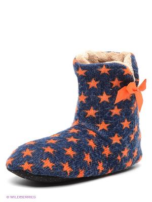 Тапочки Burlesco. Цвет: темно-синий, оранжевый