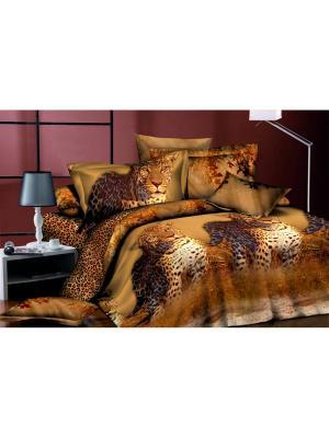 Комплект постельного белья  1,5 ДомВелл сатин СН01 Леопард. Цвет: коричневый