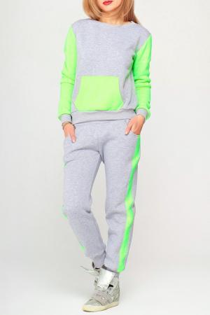 Костюм: кофта и брюки Majaly. Цвет: серый, зеленый