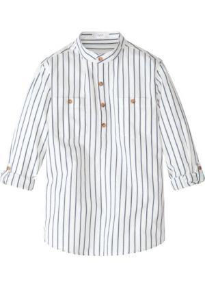 Рубашка с рукавами отворотом (кремовый/индиго в полоску) bonprix. Цвет: кремовый/индиго в полоску