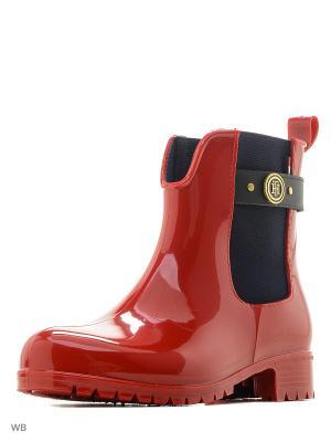 Резиновые сапоги Tommy Hilfiger. Цвет: красный
