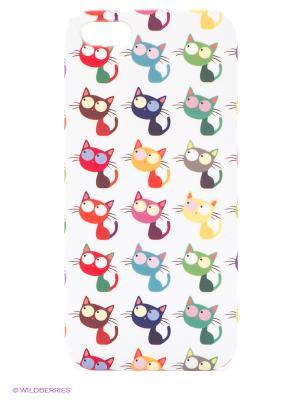 Чехол для IPhone 5 Цветные кошки в ряд Mitya Veselkov. Цвет: белый, зеленый, фиолетовый