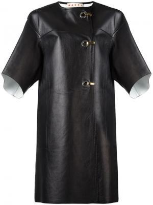 Кожаное пальто с застежкой на крючки Marni. Цвет: чёрный
