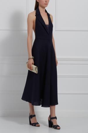 Льняное платье Tegin. Цвет: синий