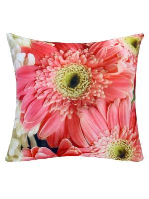 Подушка декоративная, принт ГЕРБЕРЫ Dorothy's Нome. Цвет: розовый