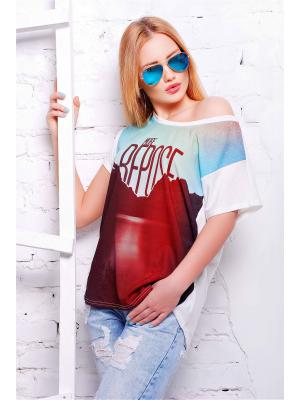 Футболка Fashion Up. Цвет: белый, бордовый, голубой