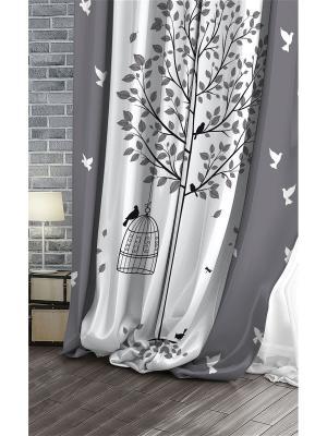 Штора (1 шт.), Волшебная ночь, 220*270см., ткань-Габардин, стиль-Лофт, дизайн-Bird ночь. Цвет: черный, белый, серый