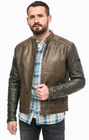 Кожаная куртка с хлопковой подкладкой Pepe Jeans. Цвет: коричневый