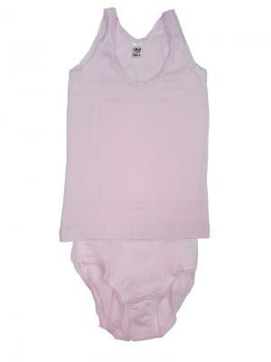 Майка и трусы для девочек Oztas kids' underwear. Цвет: розовый