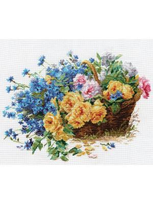 Набор для вышивания Розы и васильки  40х30 см. Алиса. Цвет: желтый,синий,коричневый