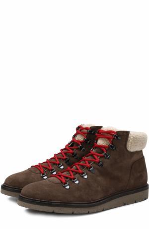 Высокие замшевые ботинки на шнуровке с внутренней меховой отделкой Hogan. Цвет: темно-коричневый