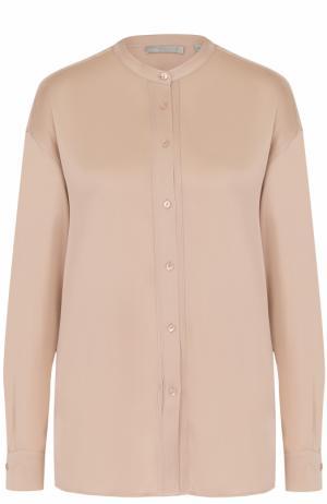 Шелковая блуза свободного кроя с воротником-стойкой Vince. Цвет: светло-розовый