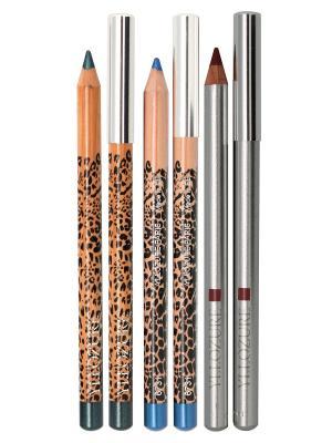 Набор декоративной косметики YZ (yllozure):карандаш для гла 2шт+ карандаш губ. ИЛЛОЗУР. Цвет: малиновый, бирюзовый, синий