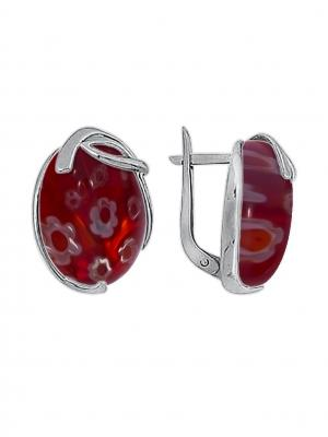 Серебряные серьги KRASNOE. Цвет: серебристый, красный