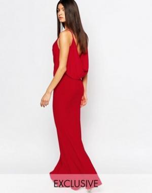 Club L Платье макси с драпировкой спереди и сзади. Цвет: красный