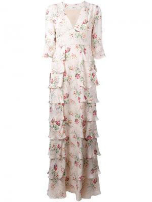 Платье Ivy с цветочным узором Vilshenko. Цвет: телесный