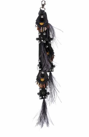 Брелок с отделкой из перьев и бусин Dorothee Schumacher. Цвет: черный