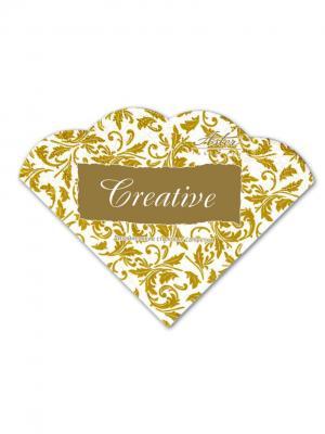 Салфетки Creative round 32х32 см, Арабески бело-золотые, 3-слойные, 12 шт./уп Aster. Цвет: белый, золотистый