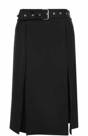 Шерстяная юбка-миди с поясом Helmut Lang. Цвет: черный