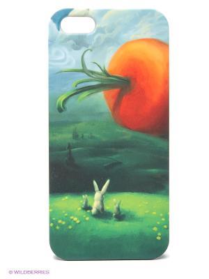 Чехол для IPhone 5 Заяц и морковка Mitya Veselkov. Цвет: зеленый, оранжевый