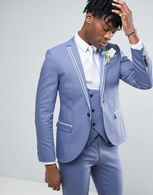 Noose & Monkey Супероблегающий пиджак с двойной окантовкой Wedding. Цвет: синий