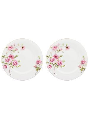 Набор обеденных тарелок Амалия Elan Gallery. Цвет: белый, зеленый, розовый