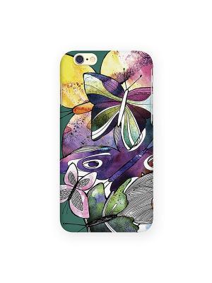 Чехол для IPhone 6 Акварельные бабочки Mitya Veselkov. Цвет: фиолетовый, белый, красный