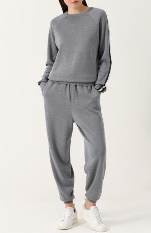 Спортивный костюм из смеси шелка и кашемира Olivia Von Halle. Цвет: серый