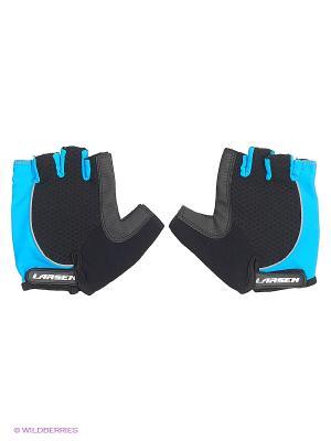 Велоперчатки Larsen. Цвет: черный, голубой