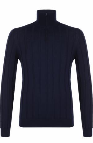 Джемпер из шерсти фактурной вязки с воротником на молнии Fabrizio Del Carlo. Цвет: темно-синий