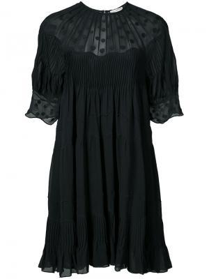 Платье шифт с вышивкой Ulla Johnson. Цвет: чёрный
