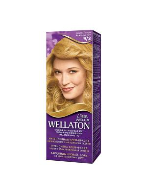 Крем-краска для волос стойкая 9/3 Золотой блондин WELLATON. Цвет: фиолетовый