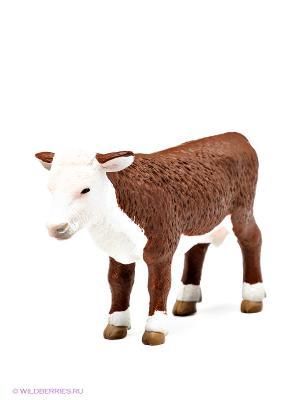Херефордский теленок MOJO. Цвет: коричневый, белый