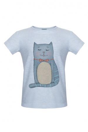 Хлопковая футболка LISA&LEO. Цвет: голубой