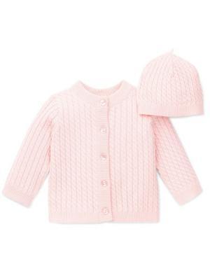 Комплект из 2-х предметов вязаный косичкой Little Me. Цвет: розовый