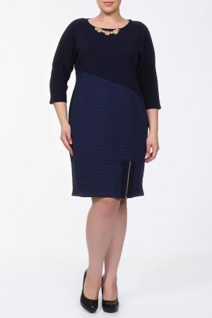 Комбинированное платье с замком по низу QNEEL Q'NEEL. Цвет: синий