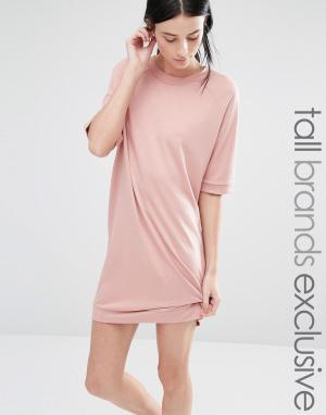 One Day Tall Трикотажное платье с рукавами до локтя. Цвет: розовый