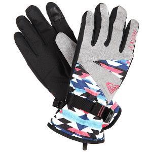 Перчатки сноубордические женские  Jetty Gloves Geofluo Blue Print Roxy. Цвет: черный,мультиколор