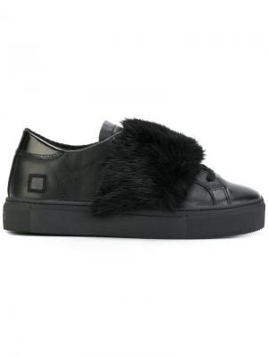 Кроссовки на шнуровке с меховой панелью D.A.T.E.. Цвет: чёрный