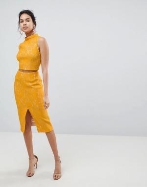 Keepsake Кружевная юбка миди Every Way. Цвет: желтый