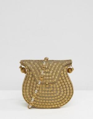 Park Lane Золотистая сумка с отделкой бусинами на ремешке через плечо. Цвет: золотой